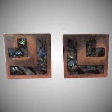 Abalone Mexican silver Cuff Links - free shipping