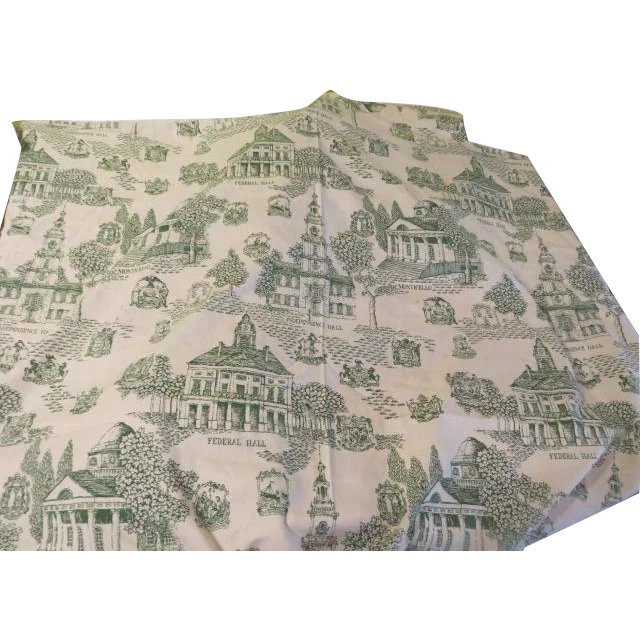 patriotic toile green toile de jouy print fabric l 9 hodge podge lodge 1 ruby lane. Black Bedroom Furniture Sets. Home Design Ideas