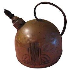 Solid Copper Deco Design Whistling Tea Kettle - b206