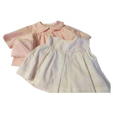 Tiny Tots pink and white Dress, Coat and Hat and Bonnet