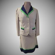 Bright Lime Green and Navy Trimmed Suit with Hip-hugging Skirt