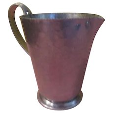 "Mid-century Hammered Spun Aluminum Brilliatone ""Wild Rose"" Pitcher  - b199"