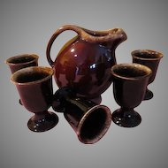 Hull Brown Drip Pitcher and Footed Tumblers - FG