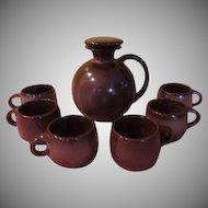Frankoma Lazy Bones Carafe/jug and mugs Brown Stain _ FG