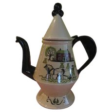 Metlox Poppytrail Colonial Heritage Homestead - Green Trim Coffee Pot - b198