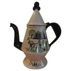 Metlox Poppytrail Colonial Heritage Homestead - Green Trim Coffee Pot - b198