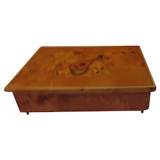 Burled Wood Italian Music/jewelry/valet Box - b198