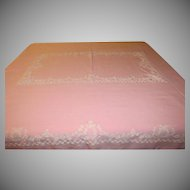 Flocked White on Pink Tablecloth - b207