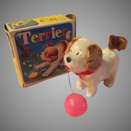 Wind-up Mechanical Terrier with Ball in Box - b210