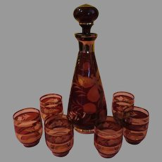 Bohemian Ruby Glass Decanter with Butterfly and 6 Glasses - b199