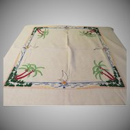 Palm and sailboats Embroidered Tablecloth - B210