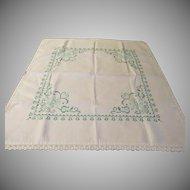 Green X-stitch Tablecloth - b210
