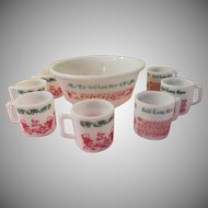 Anchor Hocking Tom and Jerry Auld Lang Syne Punch Set