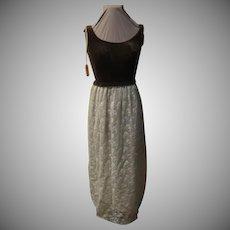 Brown Velvet over lace Floor Length Dress