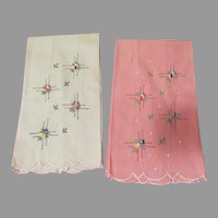 Flower Embroidered Pale Green and pink Towels - L9