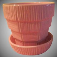 McCoy Pink Basketweave Flower Pot - b211