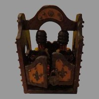 Wood Cabinet with Glass Decanters Bar Cabinet Set - b212