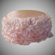 Pink Flower Power Pillbox Hat with Velvet bow