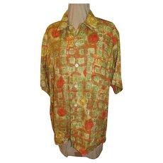 Boldy Printed Men's linen Ermenegildo Zenga Shirt - Red Tag Sale Item
