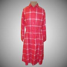 Sears ''The Shirtdress'' Pink Checked Shirtwaist Dress