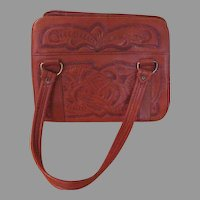 Tooled Roses Leather Purse - b215