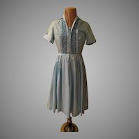 Baby Blue Box Pleated Shirtwaist