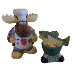 Moose and salmon on Grill Salt and Pepper Shakers - b220