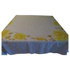 Vera Yellow and Gold border Print Tablecloth - b201