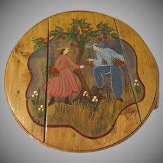 Folk Art Hand Painted Shaker Sewing Box - b