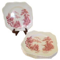 Johnson Bros Castle on the Lake Pink Square Salad Plate - b214