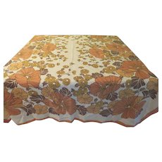 Earthy Brown and Orange Flower Tablecloth - b215
