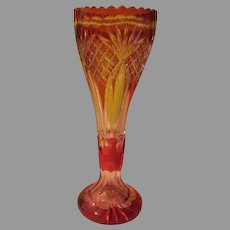 Ruby to Clear Lead Glass Vase - b217