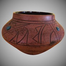 Southwestern ''M Peters'' Pot with Turquoise Embellishment - b221