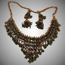 Glorious Green Necklace and Hook Earrings - Free shipping
