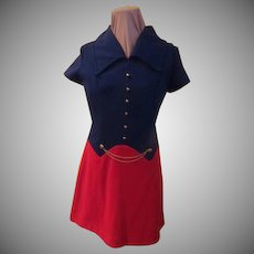 Vest Look Red and Navy Dress