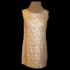 Gold Highlighted Pink Paisley Brocade Dress/skimmer - Red Tag Sale Item