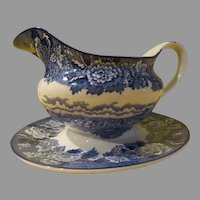 Wood & Sons English Scenery Blue Gravy Boat with Attached Liner/plate - b214