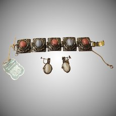 Amazing Filigree Reversible Bracelet with Screw Back Earrings