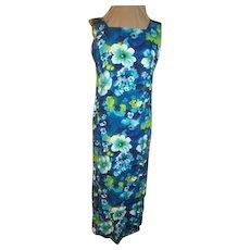 Blue Hawaiian Hibiscus Print Dress