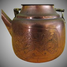Flower Embossed Copper Tea Kettle