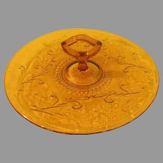 Amber Sandwich Glass Server Tray with Center Handle - b221