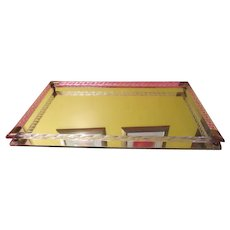 Turned Glass Frame Vanity Mirrored Tray - b44