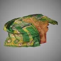 Geometric Green Vera Scarf and Chiffon Scarf - b223