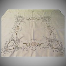 Embroidered and Drawn Thread Tablecloth - b225