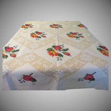Needlepoint Flowers Tablecloth - L10