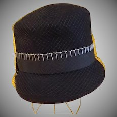 Black  with White Stitching Veiled Hat