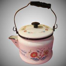 Berggren Penn Dutch Folk Art Design Enamel Tea Pot - g