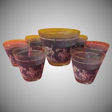 Wedgwood   Lion Hunters Ice Bucket and on the Rocks Glasses - g