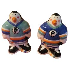 Hockey Playing Penguin Salt and Pepper Shakers - jsp