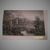 Royal Palace of the Quiches Restored Original etching by C a Vanderhoof